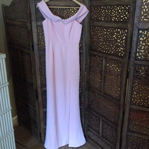 NEW NWT NBD Peach Pink Off The Shoulder Gown S